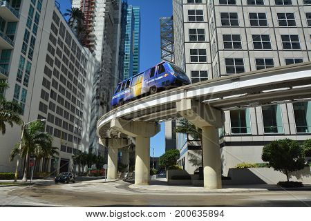 MIAMI, USA - MARCH 19, 2017 : Metromover train in Downtown Miami. Metromover is a free automatic transport system in Miami