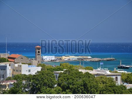 View On Mandraki Harbour In Rhodes, Greece