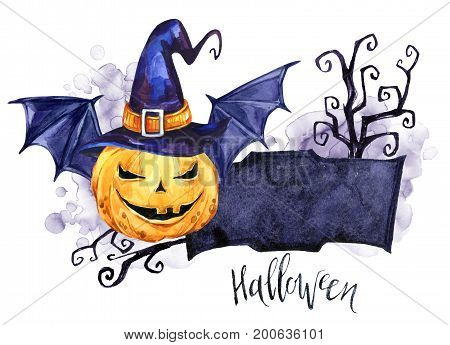 Watercolor border, pumpkin in the hat with bat wings. Halloween holiday illustration. Funny food. Magic, symbol of horror. Baby background. Can be use in holidays design, posters, invitations, cards