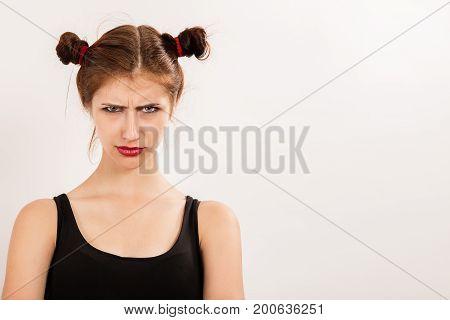 sad serious girl isolated on white background