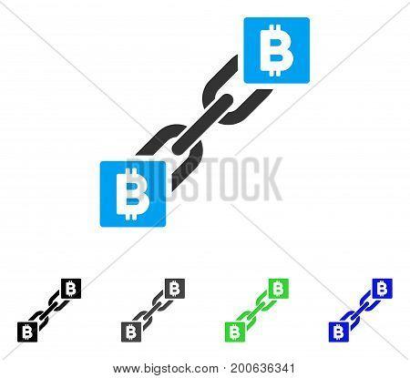 Bitcoin Blockchain flat vector illustration. Colored bitcoin blockchain, gray, black, blue, green icon versions. Flat icon style for web design.