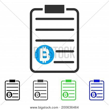 Bitcoin Price List flat vector icon. Colored bitcoin price list, gray, black, blue, green icon variants. Flat icon style for web design.