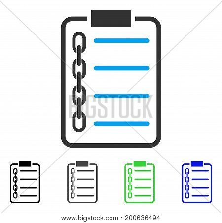 Blockchain Contract flat vector illustration. Colored blockchain contract, gray, black, blue, green pictogram versions. Flat icon style for application design.