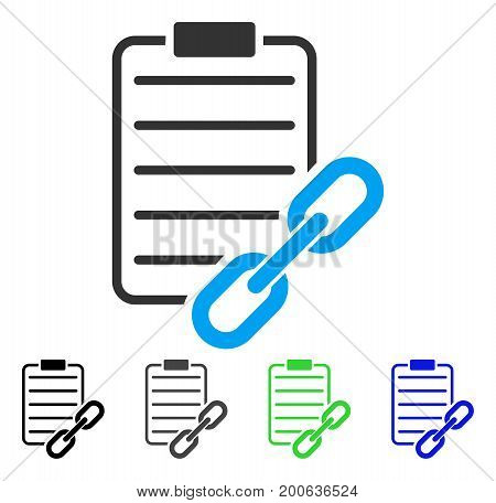 Blockchain Contract flat vector pictogram. Colored blockchain contract, gray, black, blue, green icon versions. Flat icon style for web design.