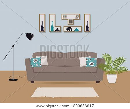 Living room with brown sofa and colored pillows. There is also shelves with books and home decor, a lamp and a flower in the picture. Vector illustration.
