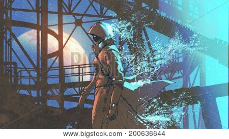 mysterious woman in futuristic cloak with hood walking with blue light particles, digital art style, illustration painting
