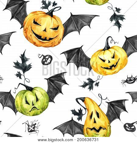 Watercolor seamless pattern, pumpkins with leafes and bat wings. Halloween holiday illustration. Funny food. Magic, symbol of horror. Baby background. Can be use in holidays design, posters, invitations, cards.