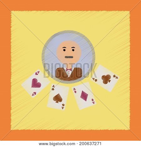flat shading style icon poker casino dealer