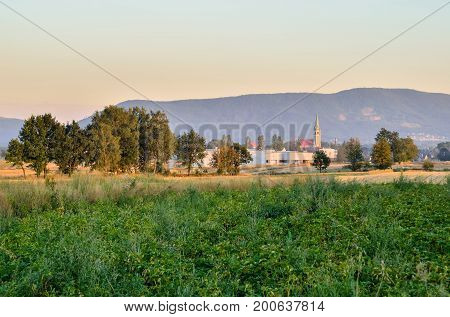 Summer rural landscape. Countryside in Poland against the background of beautiful hills.