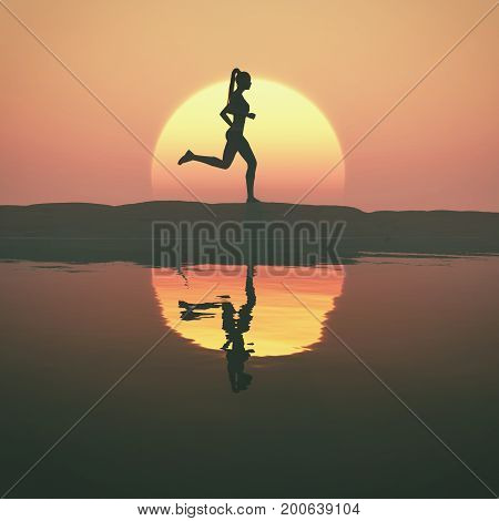 Woman running at sunset on a lake. This is a 3d render illustration.