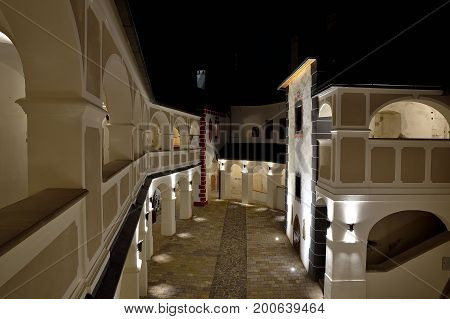 SLOVENSKA LUPCA, SLOVAKIA - AUGUST 12, 2017: Night view of Lupca castle in the middle of Slovakia, near Banska Bystrica. Historical residence after extensive repair.