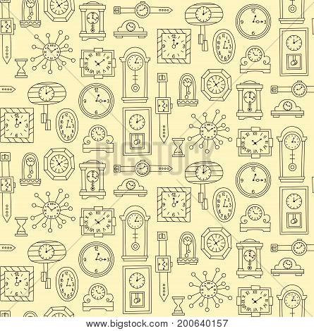 Wall watch and clock doodle seamless vector pattern