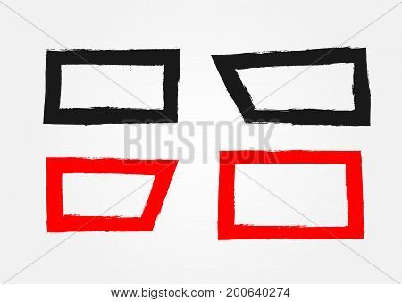 Set of rectangular frames. Painted by hand with a rough brush. Grunge sketch graffiti ink watercolor. Black and red isolated borders. Vector illustration.