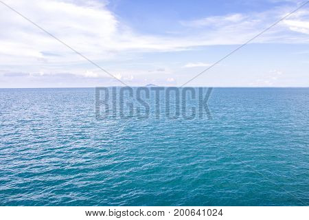 Calm Of Horizon Sea Ocean And Blue Sky Background