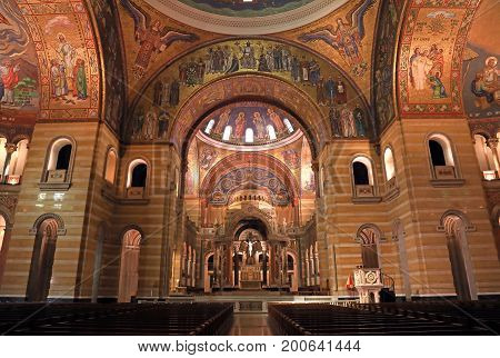 St. Louis Missouri USA - August 18 2017: Sanctuary of the Cathedral Basilica of Saint Louis on Lindell Boulevard in St. Louis Missouri.