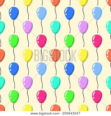 Party balloons pattern seamless . Cartoon balloons celebation on yellow background Flat design Vector Illustration