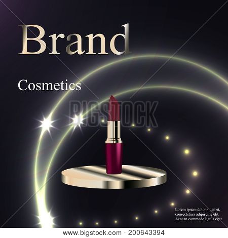 The design of cosmetics, lipstick purple and gold on a circular base silver on a dark background with patches and stars. Advertising, banner, beauty, promotion, realistic 3D vector, EPS 10