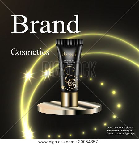 The design of cosmetics, skin cream, lotion, gel black with a gold rose on a circular base silver on a dark background with patches and stars. Advertising, banner, promotion, realistic 3D vector