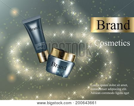 The design of cosmetics, skin cream, lotion, gel, blue with gold light on a bright background with zoster light, and glare. Advertising, banner, beauty, promotion, realistic 3D vector