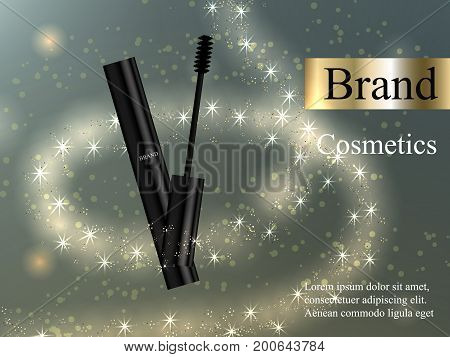 Design makeup mascara black brush on a light bright background with zoster light, and glare. Advertising, banner, beauty, promotion, realistic 3D vector