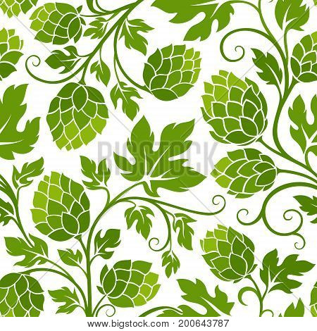 Hop branches with leaves and hop cones. Seamless pattern.