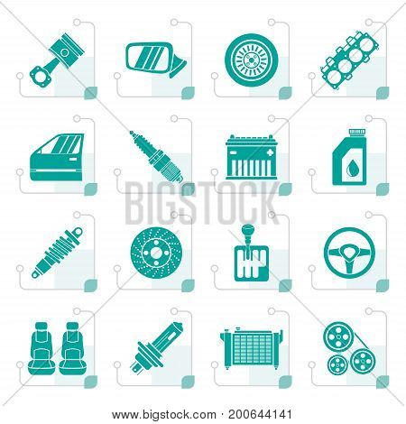 Stylized Detailed car parts icons - vector icon set