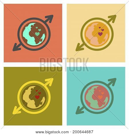 assembly of flat icons gays Earth symbol