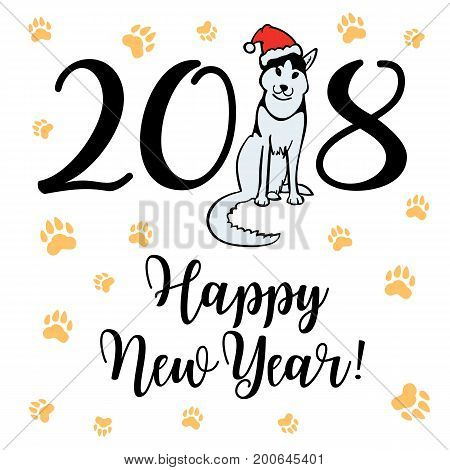 Happy small Dog in Santa Claus hat sitting and smile. Dog is symbol of 2018 year on chinese calendar. Vector illustration.