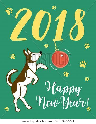 Happy small Dog. Dog is symbol of 2018 year on chinese calendar. Vector illustration.