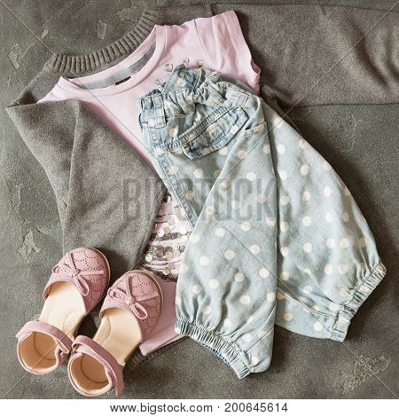 Girl's outfit Casual outfit for toddler girls. Pink top and accessories.
