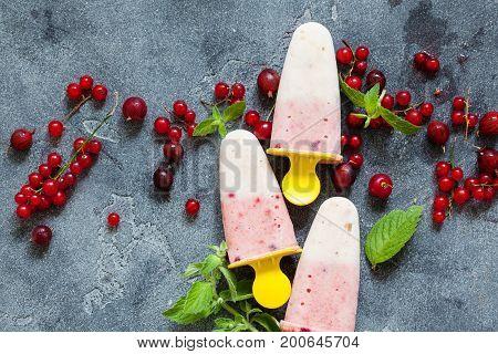 Layered Vanilla And Berry Ice Cream Overhead Shot