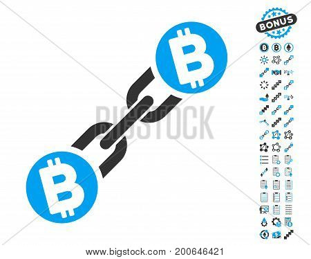 Bitcoin Blockchain icon with bonus smart contract images. Vector illustration style is flat iconic symbols, modern colors.