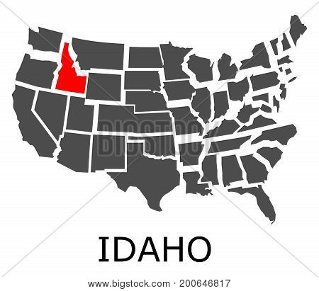 State Of Idaho On Map Of Usa