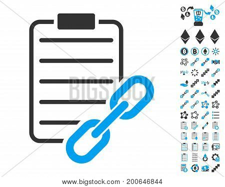 Blockchain Contract icon with bonus blockchain pictograph collection. Vector illustration style is flat iconic symbols, modern colors.