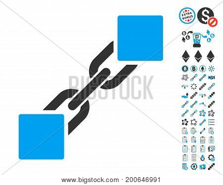 Blockchain icon with bonus smart contract pictograms. Vector illustration style is flat iconic symbols, modern colors.