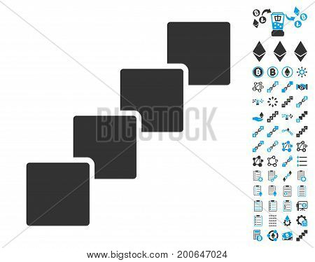 Blockchain icon with bonus crypto currency images. Vector illustration style is flat iconic symbols, modern colors.