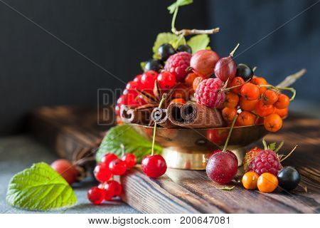 Assorted Summer And Autumn Berries With Spices