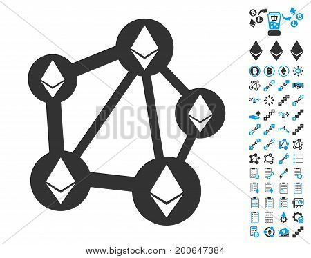 Ethereum Network pictograph with bonus crypto currency pictograms. Vector illustration style is flat iconic symbols, modern colors.
