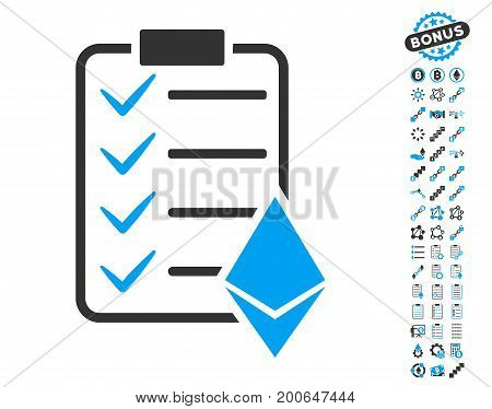 Ethereum Smart Contract pictograph with bonus smart contract graphic icons. Vector illustration style is flat iconic symbols, modern colors.