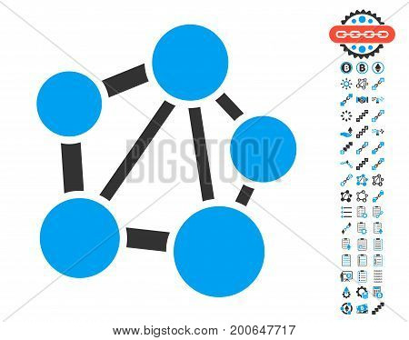 Network pictograph with bonus crypto currency design elements. Vector illustration style is flat iconic symbols, modern colors.