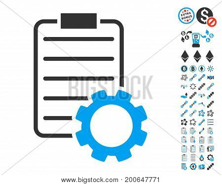 Smart Contract Gear pictograph with bonus smart contract pictures. Vector illustration style is flat iconic symbols, modern colors.