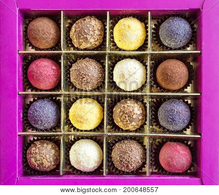 Delicious box of assorted colorful chocolate truffles