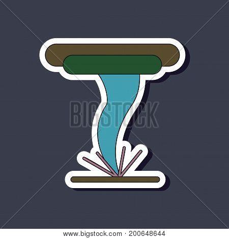 paper sticker on stylish background of tornado