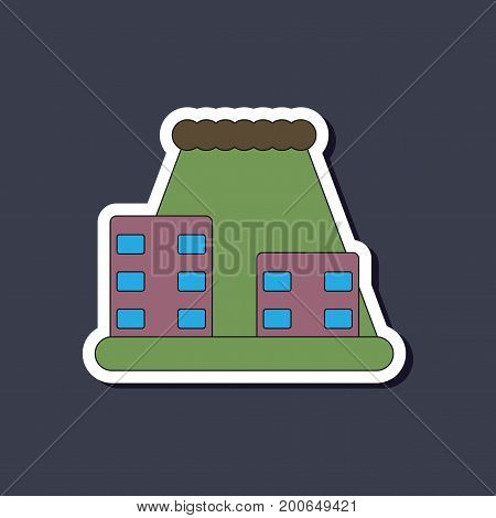 paper sticker on stylish background of tsunami city