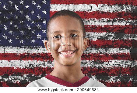 Black child against the flag of USA