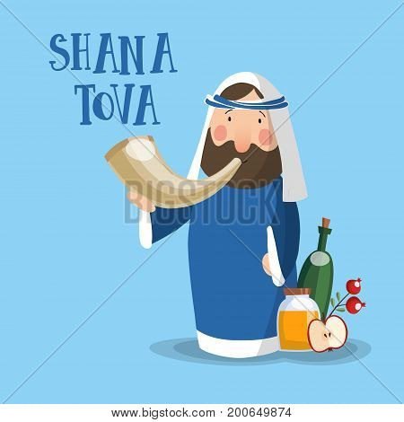 Shana Tova greeting card, invitation for Jewish New Year holiday Rosh Hashanah. Cartoon of a rabbi blowing a shofar horn, vector illustration background, flat design.