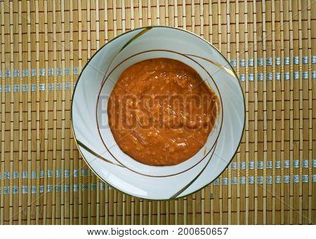 Llajua Bolivian Hot Sauce close up homemade meal