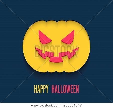 Happy Halloween flat paper card. Vector illustration.