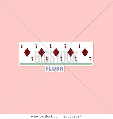 paper sticker on stylish background of poker flush cards