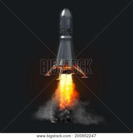 rocket launch on dark background, illustration concept of business, 3d illustration